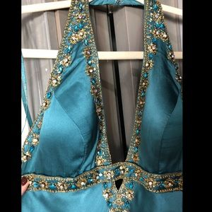 Jovali Teal Silk Beaded Gown